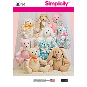 Simplicity Patterns Two-Pattern Piece Stuffed Animals Size