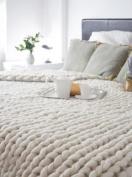 DIY - 5.9kg BULK Natural White Wool Roving Fibre for making Chunky Large Knit Blanket