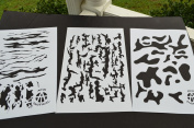 Acid Tactical® 3 Pack - 23cm x 36cm Bark, Multicam, Jag Camouflage Vinyl Airbrush Spray Paint Stencils - Duracoat Cerakote Gun