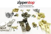 Zipper Repair Kit Solution Metal YKK® Assorted 29 Sets of #3, #4.5, #5, and #10 Metal Sliders in Nickel, Brass, Antique Include #3, #5, #10 Top - Bottom Stops Both Nickel - Brass