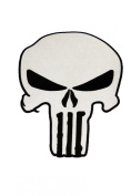 Large Biker Jacket Patch Punisher Skull Patch Iron or Sew on 100% Embroidered White/Black