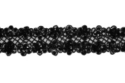 Altotux 5.7cm Sheer Organza Embroidered Black Ribbon Trim Bead Sequins By Yard
