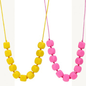 MyBoo Autism/Sensory/Teething Chewable Funky Square Beaded Necklace - Set of 2, Pink/Yellow