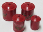 Dollhouse Miniature 1:12 Scale Canisters, Set of 4 w/Lids, Red