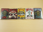 Haloween Lot 5 Bicycle Playing Cards Zombified, Everyday Zombies, Zombie, Eerie Red and Eerie Purple Decks