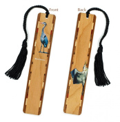 Heron - Great Blue Heron - Bird Wooden Bookmark with Tassel