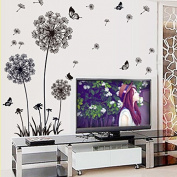Amaonm® Removable Diy Black Dandelion Butterfly Wall Stickers PVC Home Art Decoration Mural Wall Decal for Bedroom Sitting Bathroom Kitchen Bathroom Room Sofa Tv Background
