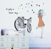Fange DIY Removable Lovely Girl Riding Bicycle Art Mural Vinyl Waterproof Wall Stickers Living Room Decor Bedroom Decal Sticker Wallpaper 70cm x 50cm