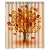 Yestore Superior Custom Autumn WaterProof Polyester Fabric 150cm x 180cm Shower Curtain