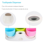 Hands Free Toothpaste Dispenser Automatic Toothpaste Squeezer and Toothbrush Holder Set for 3 Brushes