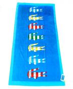 LACOSTE Bayadere II Beach Towel 36x72 Dresden Blue Multi-Colour Logo