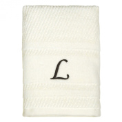 Peri Home Initial Monogram 38cm x 70cm Embroidered 100% Cotton Hand Towel, Large, Ivory