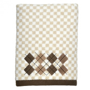 Peri Home Embroidered Argyle 100% Cotton Hand Towel, 38cm x 70cm , Brown