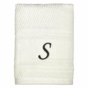 Peri Home Initial Monogram 38cm x 70cm Embroidered 100% Cotton Hand Towel, Small, Ivory