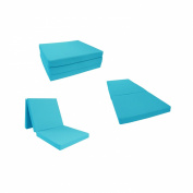 Brand New Solid Turquoise Shikibuton Tri fold Foam Beds 7.6cm Thick X 70cm Wide X 190cm Long, 0.8kg high density resilient white foam, Floor Foam Folding Mats.