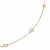 14k Gold Two Tone Flower Anklet 25cm with Extender