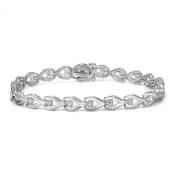 14k White Gold Round-cut Diamond Tennis Link Bracelet