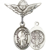 Sterling Silver Baby Badge with St. Benedict Charm and Angel w/Wings Badge Pin 2.2cm X 1.9cm