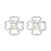 Lucky Clover Freshwater White Pearl .925 Stud Earrings