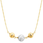 Triple Bead Necklace in 14K Two-Tone Gold