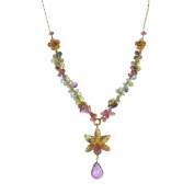 Golden Royal Orchid Mixed Stone Gold over .925 Silver Necklace