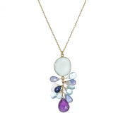 Blue Passion Multi Natural Stone Pendant Gold over .925 Silver Necklace