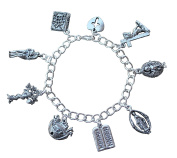 Bible Charm Bracelet - Pewter Charms, Silver Plated Chain - Adam Eve Ark Jesus Mary Cross- Size S M L XL