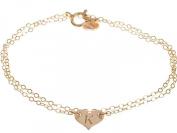 Custom Sterling Silver Dainty Heart Initial Bracelet - Small Delicate Monogrammed Heart