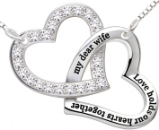 "ALOV Jewellery Sterling Silver ""my dear wife love holds our hearts together"" Double Love Heart Pendant Necklace Birthday Christmas Anniversary Valentine's day Gift For Wife"