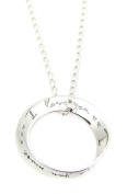 """Sterling Silver """"I love you, I love you more"""" Message Ring Pendant 46cm Necklace Gift"""