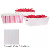 Medium Valentine Gift Tray Basket - Pink with White Polka Dots