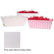 Small Valentine Gift Tray Basket - Pink with White Polka Dots