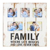 "Original ""Family"" Rustic White Wooden Collage Photo Frame By Haysom Interiors"