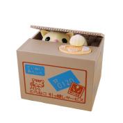Baidecor Yellow Stealing Coin Cat Money Box Piggy Bank