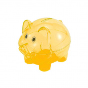 Baidecor Plastics Orange Pig Money Box Piggy Bank 10cm x 7.6cm x 7.6cm