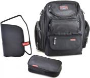 Bag Nation Nappy Bag Backpack (Black) - 12 Pockets - Free Changing Pad & Sundry Bag Included