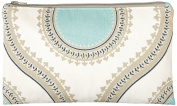 Caught Ya Lookin' Medallion Zipper Pouch, Blue/White/Yellow/Grey, One Size