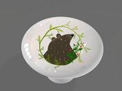Whimsical Woodland Bear Gloss Ceramic Drawer Knob