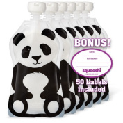 Squooshi Reusable Food Pouch | Panda 6 Pack | Refillable Squeeze Pouches for Kids of All Ages