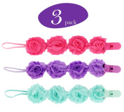 Flower Baby Pacifier Clips, 3 Pacifier Holder in Every Pack, Strong, Easy Clean