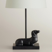 Dachshund Accent Lamp Base, A fun treat for dog lovers everywhere, our Dachshund Accent Lamp Base is crafted in India of metal with a delightful dachshund at its base. With a simple neck that's ideal for matching with any of our accent lamp shades, it' ..