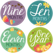 """. Stick'Nsnap(TM) 30cm Flowers Blooms"""" Pastel milestones monthly growth stickers. 8.3cm inch diameter. To put on shirt bodysuit creeper bibs bottoms or ONESIE. Bright bold colours."""