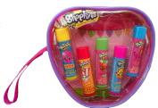 Shopkins Lip Balm 5 Scented Tubes in a Reusable Wristlet Gift Ser