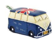 Antiques Style Van Minivan 15cm Money Piggy Bank Money Box Blue