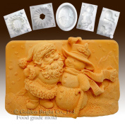 Santa and the Snowman - Silicone Soap/sugar/fondant/chocolate/marzipan 2d Mould