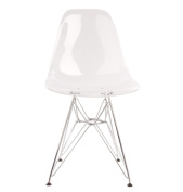 Design Tree Home Industrial Eames-Style Side Chair with Chrome Eiffel Legs, Clear Acrylic