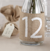 Ginger Ray Vintage Affair Hessian Burlap Wedding Table Number Wrap (12 Pack), Brown