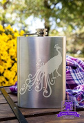 Decorative Peacock 240ml Stainless Steel Flask