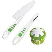 Curious Chef 3 Piece Vegetable Prep Tool Set, Child, Green/White