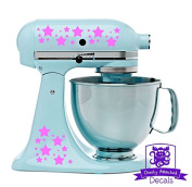 Star Patterned Kitchen Stand Mixer Front/Back Decal Set - Pink